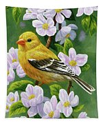 Female American Goldfinch And Apple Blossoms Tapestry