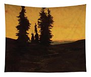 Fir Trees At Sunset Tapestry