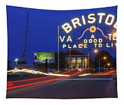 First Night Of The Bristol Sign With New Led Bulbs Tapestry