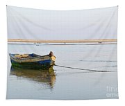 Fishing Boat Resting On The Low Tide Tapestry