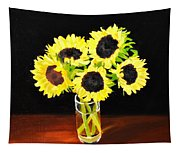 Five Sunflowers Tapestry