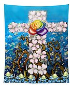 Floral Cross Rainbow Rose Tapestry