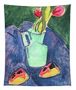 Flowers In A Green Vase On Purple Cloth Tapestry