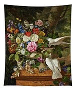 Flowers In A Vase With Two Doves Tapestry
