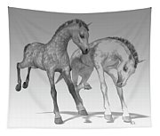 Foals Black And White Bleached Tapestry