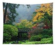 Footbridge In Japanese Garden Tapestry