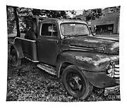 Ford F4 Tow The Truck Hook And Book Black And White Tapestry