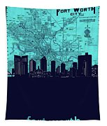 Fort Worth Skyline Map Blue 2 Tapestry