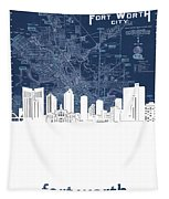 Fort Worth Skyline Map Blue Tapestry