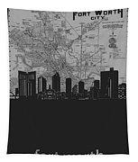 Fort Worth Skyline Map Grey Tapestry