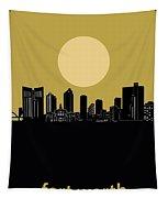 Fort Worth Skyline Minimalism Yellow Tapestry