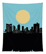 Fort Worth Skyline Minimalsim Blue Tapestry