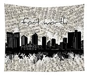 Fort Worth Skyline Music Sheet Tapestry