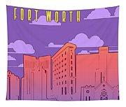 Fort Worth Skyline Panorama Purple Tapestry