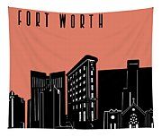 Fort Worth Skyline Panorama Red Tapestry