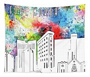 Fort Worth Skyline Panorama Watercolor Tapestry
