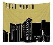 Fort Worth Skyline Panorama Yellow Tapestry