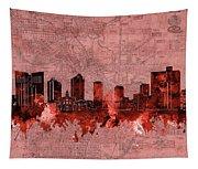 Fort Worth Skyline Vintage Red Tapestry