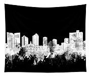 Fort Worth Skyline Watercolor Black And White 2 Tapestry