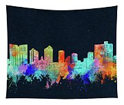 Fort Worth Skyline Watercolor Black Tapestry