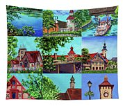 Frankenmuth Downtown Michigan Painting Collage II Tapestry