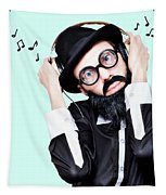 Funny Man Wearing Headphone On Blue Background Tapestry