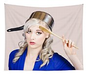 Funny Pin Up Housewife Saluting For Cooking Duties Tapestry