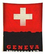 Geneva Switzerland World City Flag Skyline Tapestry
