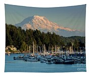 Gig Harbor Marina With Mount Rainier In The Background Tapestry