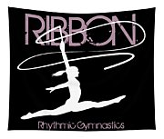 Girl Competing In Female Rhythmic Gymnastics Jumping With A Ribbon Tapestry