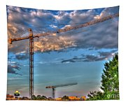 Going Up Greenville South Carolina Construction Cranes Building Art Tapestry