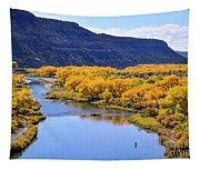 Golden Autumn Trees San Juan River Landscape Tapestry