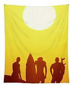 Golden Surf Silhouettes Tapestry