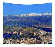Granada, The Alhambra And Sierra Nevada From The Air Tapestry