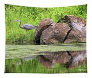 Great Blue Heron And Boulder Tapestry