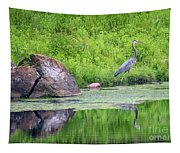 Great Blue Heron Fishing Tapestry
