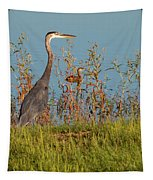 Great Blue Heron Looking For Food Tapestry