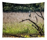Great Blue Heron On A Snag Tapestry