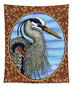 Great Blue Heron Portrait - Brown Border Tapestry by Amy E Fraser