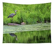 Great Blue Heron Square Tapestry
