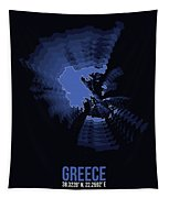 Greece Radiant Map II Tapestry