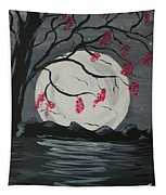 Grey Moon With Red Flowers Tapestry
