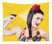 Haircare. Brunette Pinup Woman Using Hair Product Tapestry
