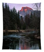 Half Dome Reflection Over Merced River At Sunset, Yosemite National Park  Tapestry