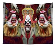 Halloween Scary Clown Heads Mirrored Tapestry