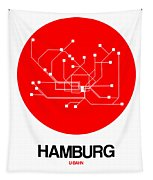 Hamburg Red Subway Map Tapestry