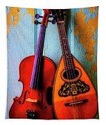 Hanging Violin And Mandolin Tapestry