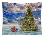 Happy Christmas Parrot Tapestry