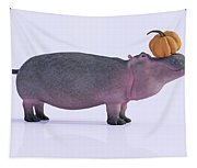 Happy Hippo And Pumpkin Tapestry