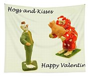 Hogs And Kisses Clown Valentines Tapestry